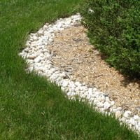 River stones used as a border