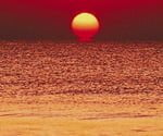 Red sunset over water.