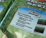 Bags of drought tolerant grass seed.