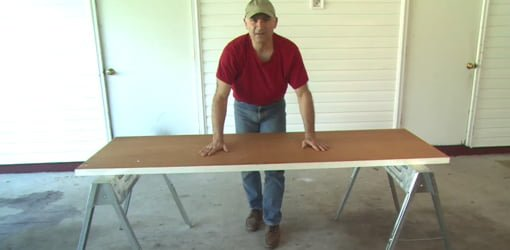 Portable workbench made from hollow core door.
