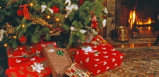 Presents under a Christmas tree.
