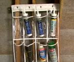 shoe rack filled with workshop tools