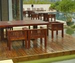 Wood deck next to pool