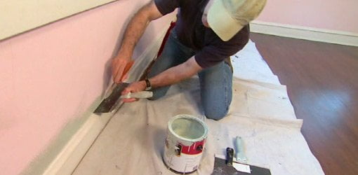how to use a drywall knife as a paint shield