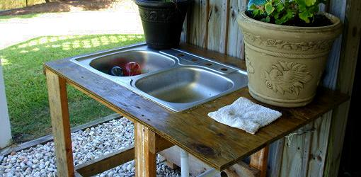 Outdoor utility sink made from old kitchen sink, plywood top, and wood ...