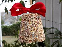 Flower-pot bell with red ribbon