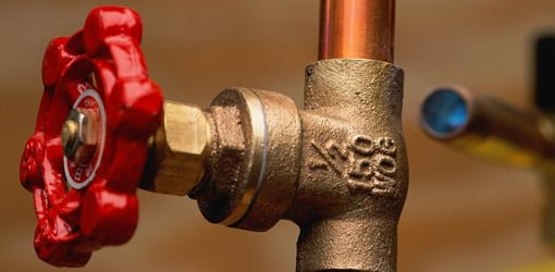 Cut-off valve on copper pipe