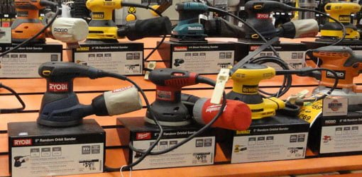 Various power sanders available at The Home Depot.