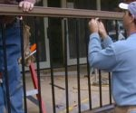 Installing spindles in composite porch railing.