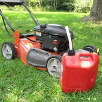 Lawn mower with gas can