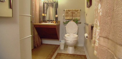 Bathroom with easily accessible sink and toilet.