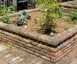 Raised planting bed made from brick