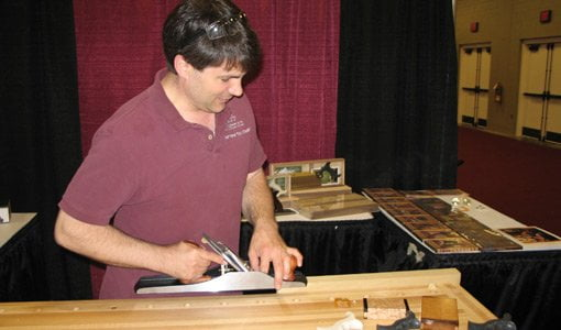 Rob Cosman demonstrating a WoodRiver hand plane