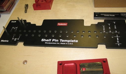 Shelf pin template jig from Woodpeckers
