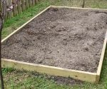 Raised bed garden made from pressure treated lumber