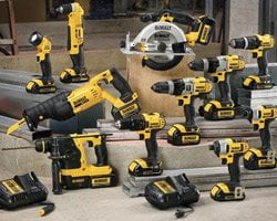 Assorted cordless tools on display