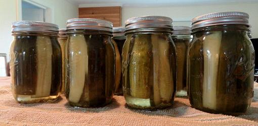 Canned pickles in jars