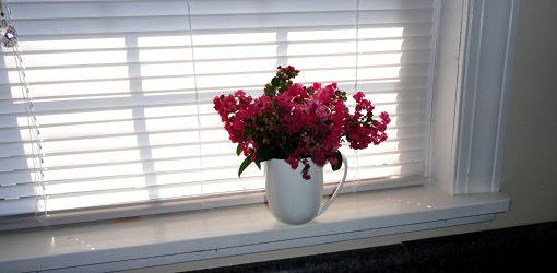 Closed window blind on window with flower arrangement