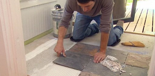 Laying tile in thin-set adhesive on cement backer board