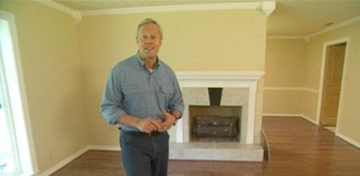 Danny Lipford with remodeled family room mantel