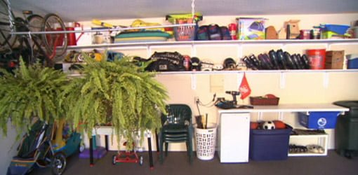 Garage wall with shelves.