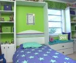 Completed child's bedroom makeover with Murphy bed and built-in shelves.