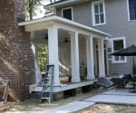 Completed back porch on historic home