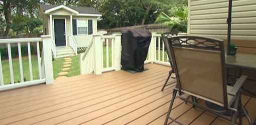 Deck with Trex composite decking.