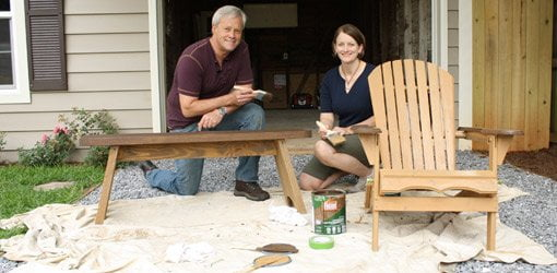 Refinishing outdoor wood furniture with Flood stain.