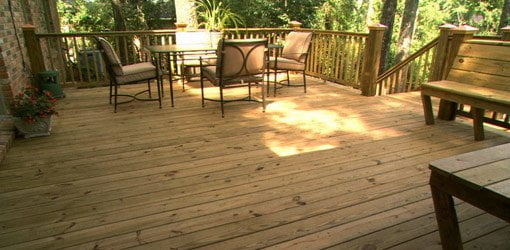 Newly cleaned wood deck.