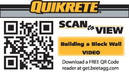QUIKRETE Scan to View QR Tag, Building a Block Wall Video