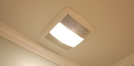Bathroom exhaust vent fan with light.