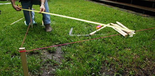 Laying out right angle with tape measure