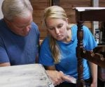 Danny Lipford with daughter, Chelsea, applying chalk and crackle finishes to furniture.