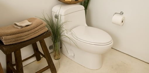 One-piece, low profile toilet with elongated bowl.
