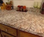 Same countertop after finishing with faux granite paint.