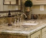 Master bathroom vanity with granite countertop.