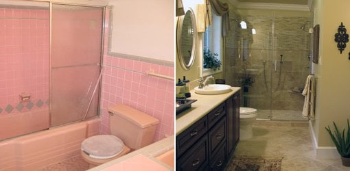 Bathroom makeover before and after slideshow today 39 s homeowner Cheap bathroom remodel before and after