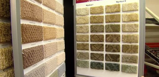 Samples of SoftSpring carpet in a range of styles and colors.