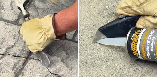 Using a cold chisel to widen the crack and cutting caulking tube nozzle at a 45° angle.