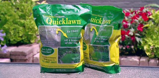 Bags of Quicklawn grass seed.