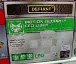 Box containing Defiant motion activated LED security light.