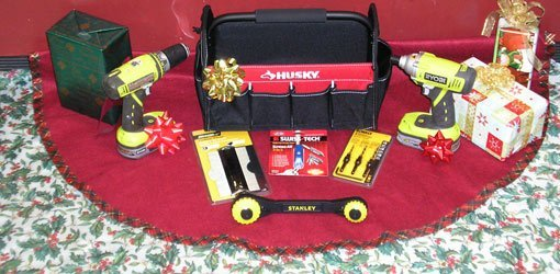 Tool gift ideas on red Christmas tree