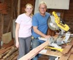 Danny Lipford and daughter Chelsea building cedar headboard.
