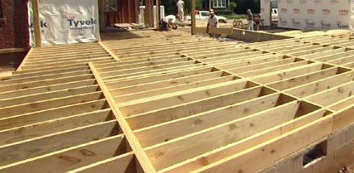 Floor joists on home addition.