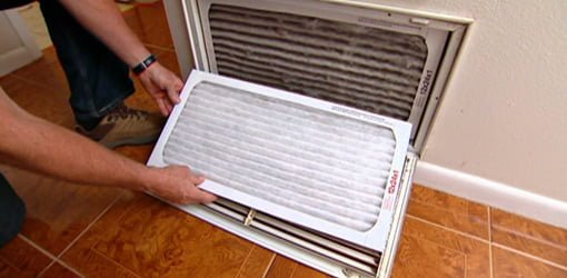 Changing dirty air filter.