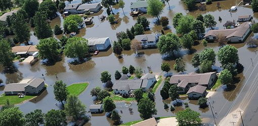 Aerial view of flooded homes.