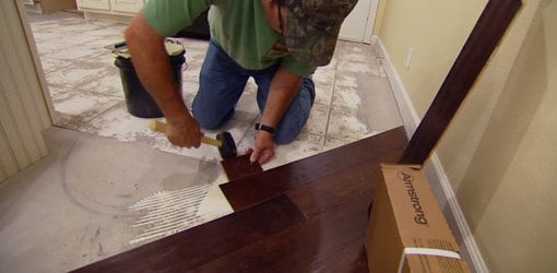 Installing Diagonal Glued Down Engineered Wood Flooring