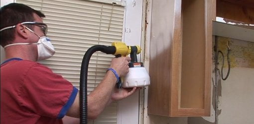 Diy kitchen cabinet painting tips today 39 s homeowner for Spray painting kitchen cabinets