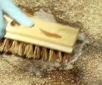 Cleaning a concrete patio with a scrub brush before staining.